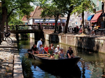 A canal boat tour in Edam